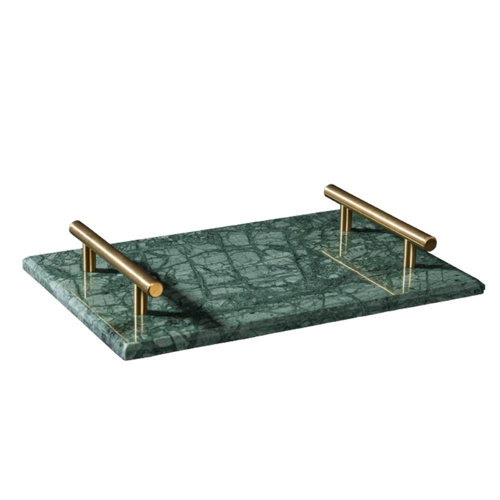 Antique Emerald Marble With Brass Handle Tray 30cm - Propstation