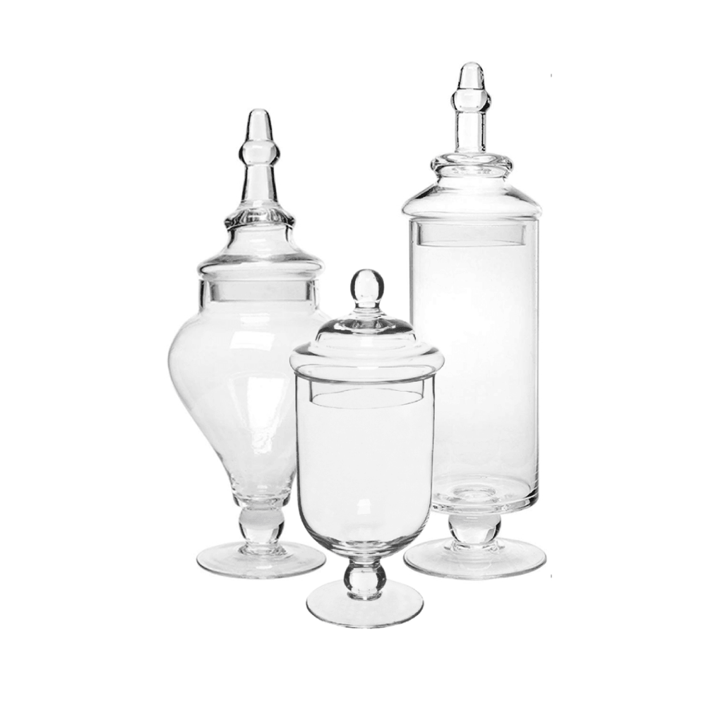 Apothecary Glass Candy Jar with Lid Set of 3 - Propstation