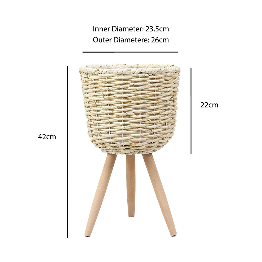 Woven Rattan Whitewash Straw Basket Stand Planter - 42cm - Propstation