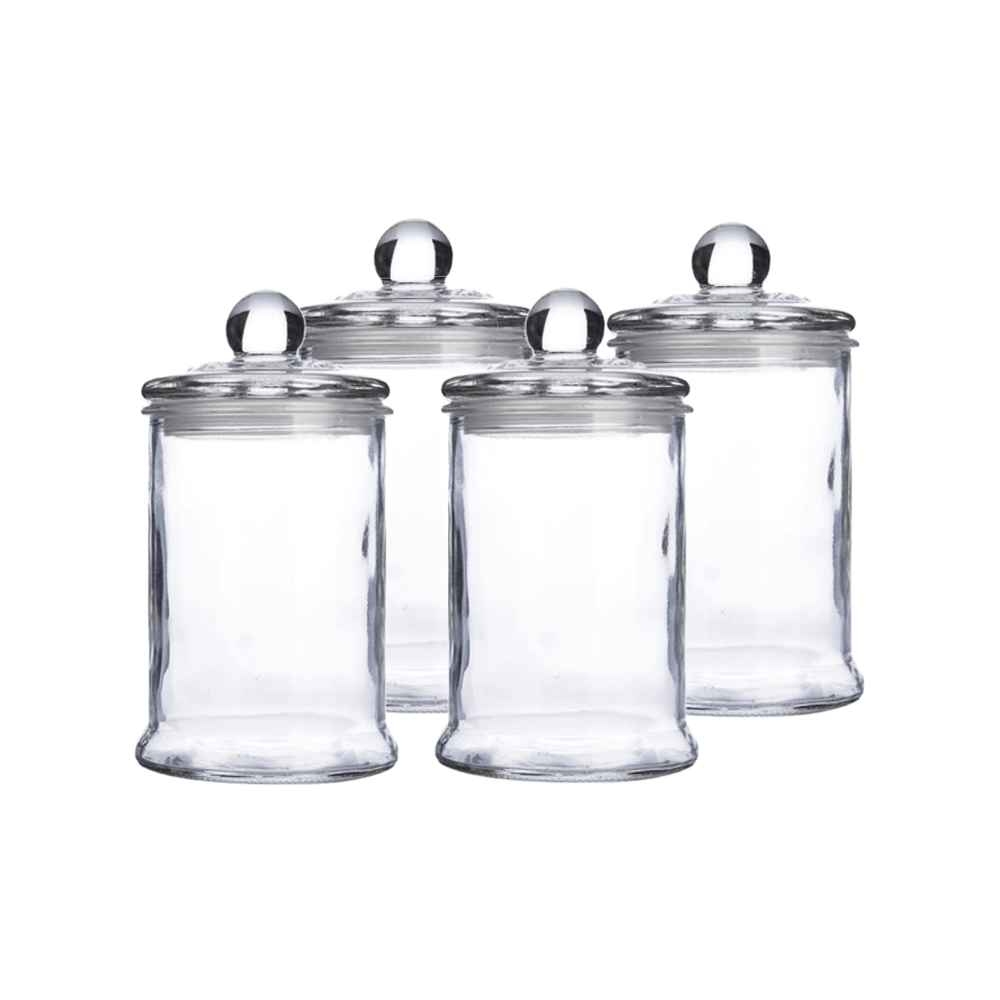 Heritage Airtight Borosilicate Clear Glass Jar with Lid - Set of 4 - Propstation