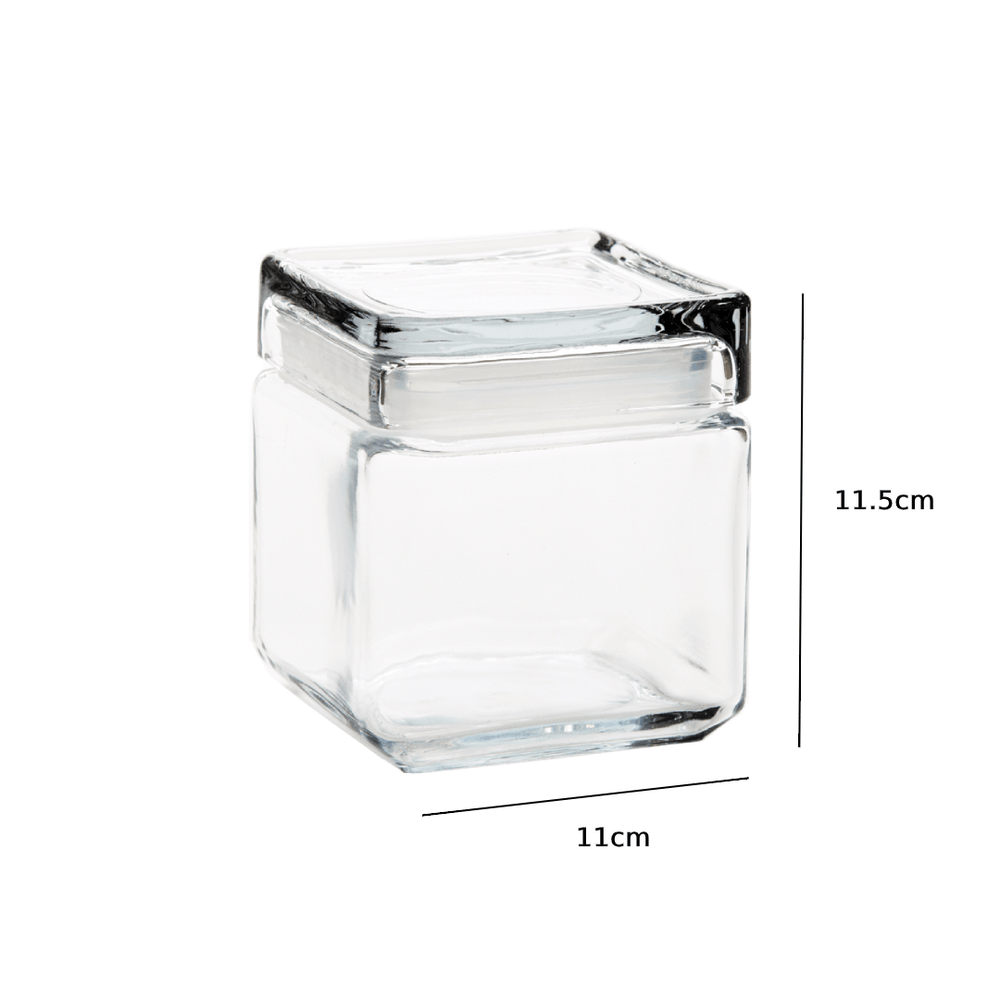 Crystal Clear Glass Sealed Jar 900ml with Lid - Set of 3 - Propstation