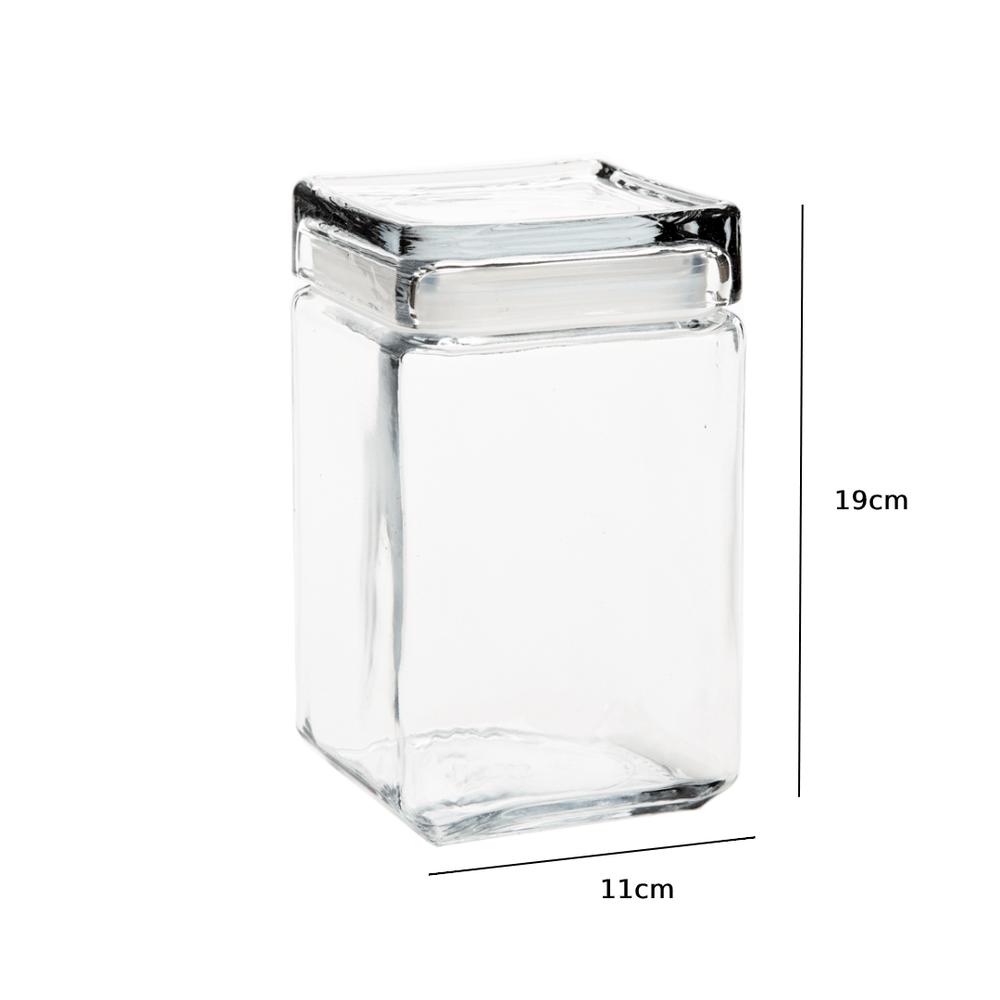 Crystal Clear Glass Sealed Jar with Lid 1700ml - Propstation