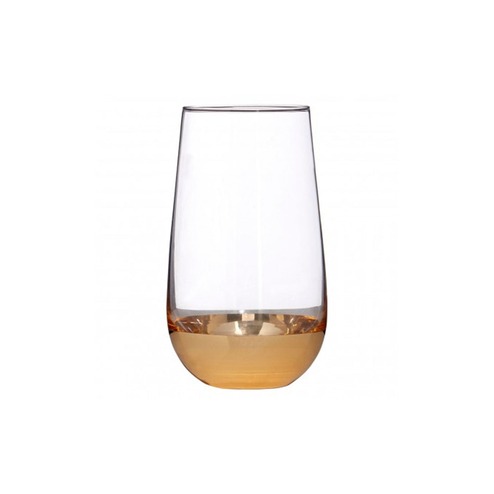 Gold Plating Tall Tumbler Crystal Glass Set of 4 - Propstation