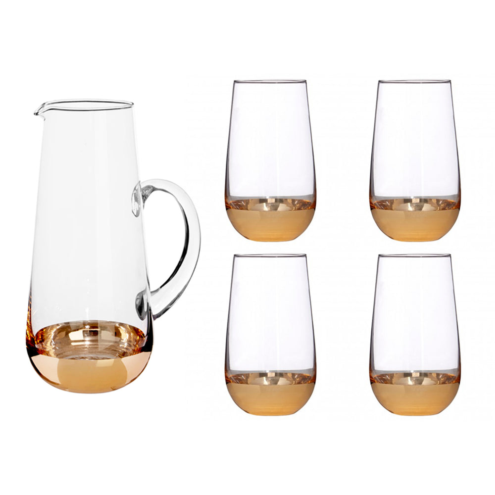 Gold Plating Tall Tumbler + Jar Crystal Glass Set of 4 - Propstation