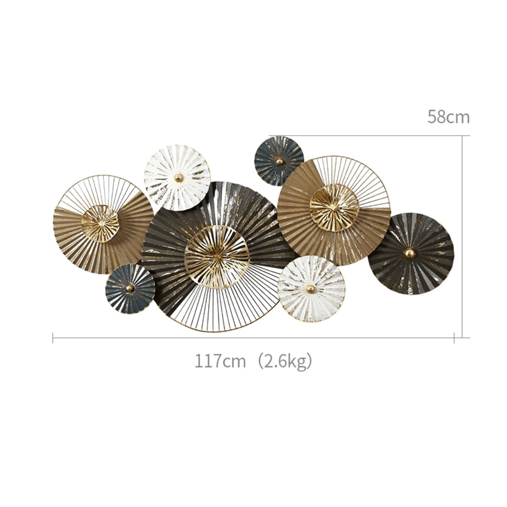 Rustic Swirl Circles Sculptures Metal Plates Statement Wall Décor - Propstation