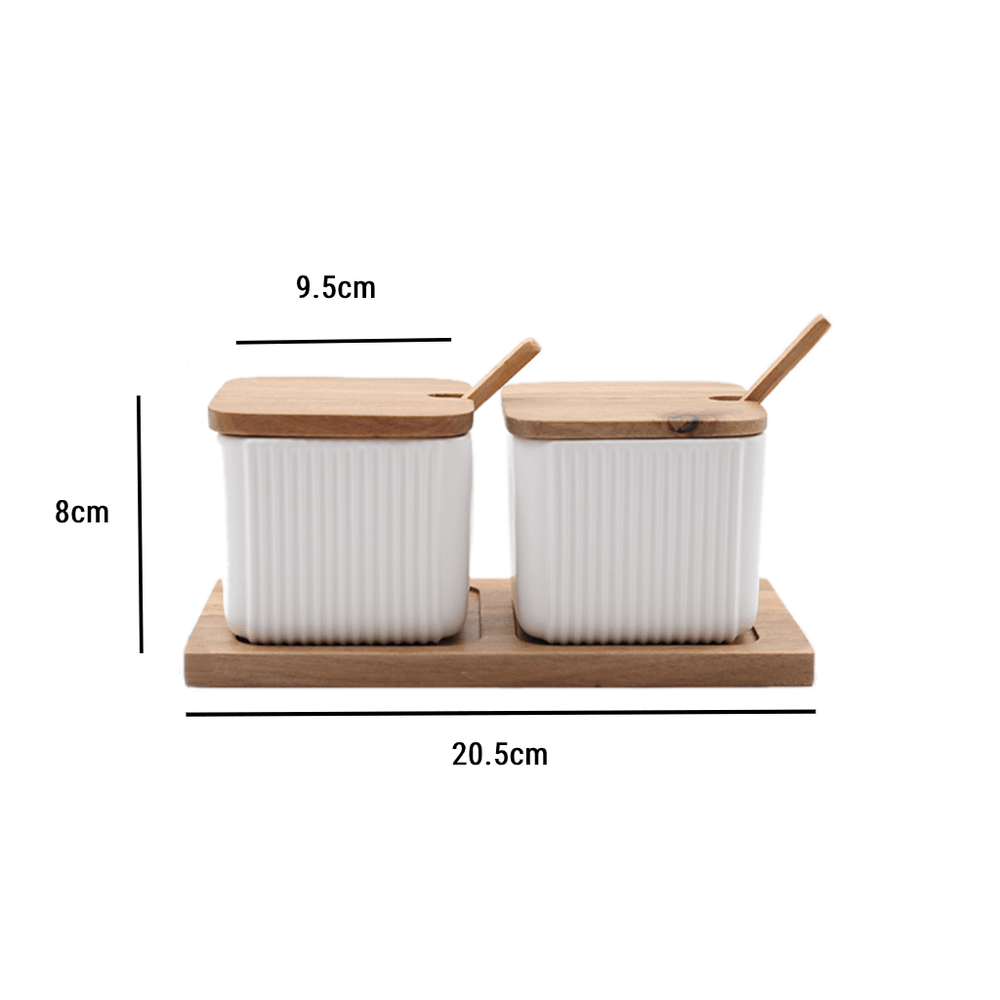 Ceramic Square Kitchen Canister White Set of 2 - Propstation