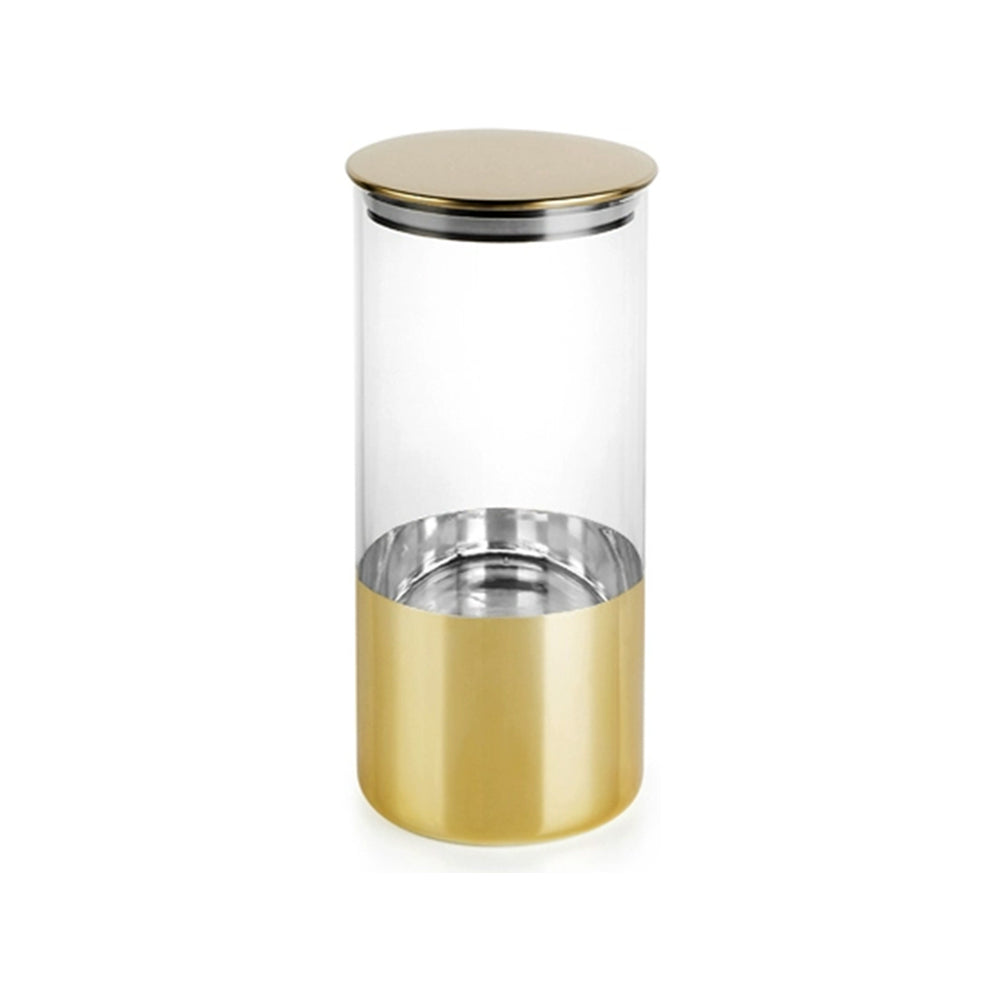 Gold Plated Airtight Moisture-Proof Glass Canister Jar - 21cm - Propstation