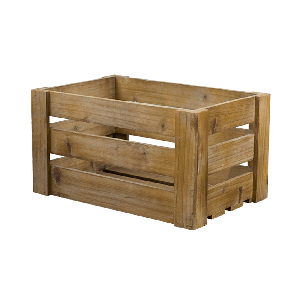 Rustic Solid Wooden Crate Light Brown 40cm - Propstation