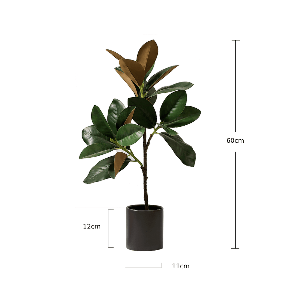 Potted Faux Silk Magnolia Tree 60cm in Black Ceramic Planter Pot - Propstation