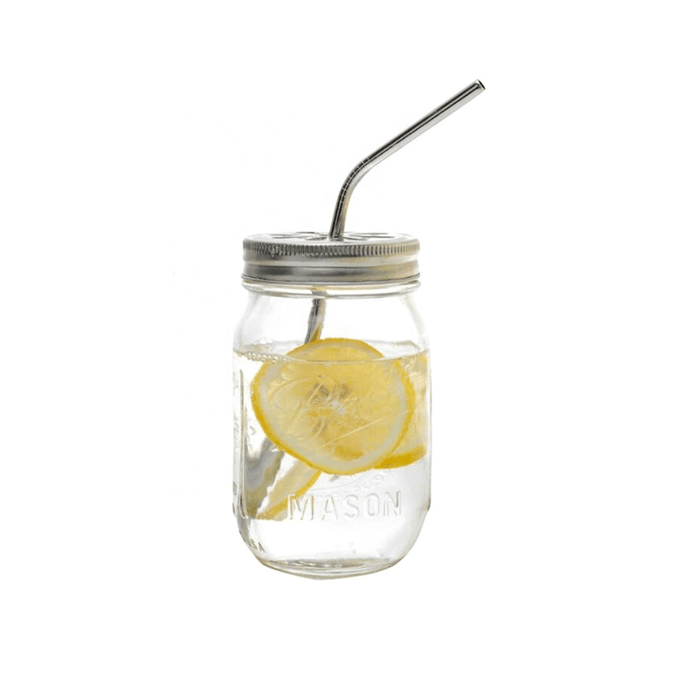 Glass Drinking Mason Jar with Steel Lid - 500ml - Propstation
