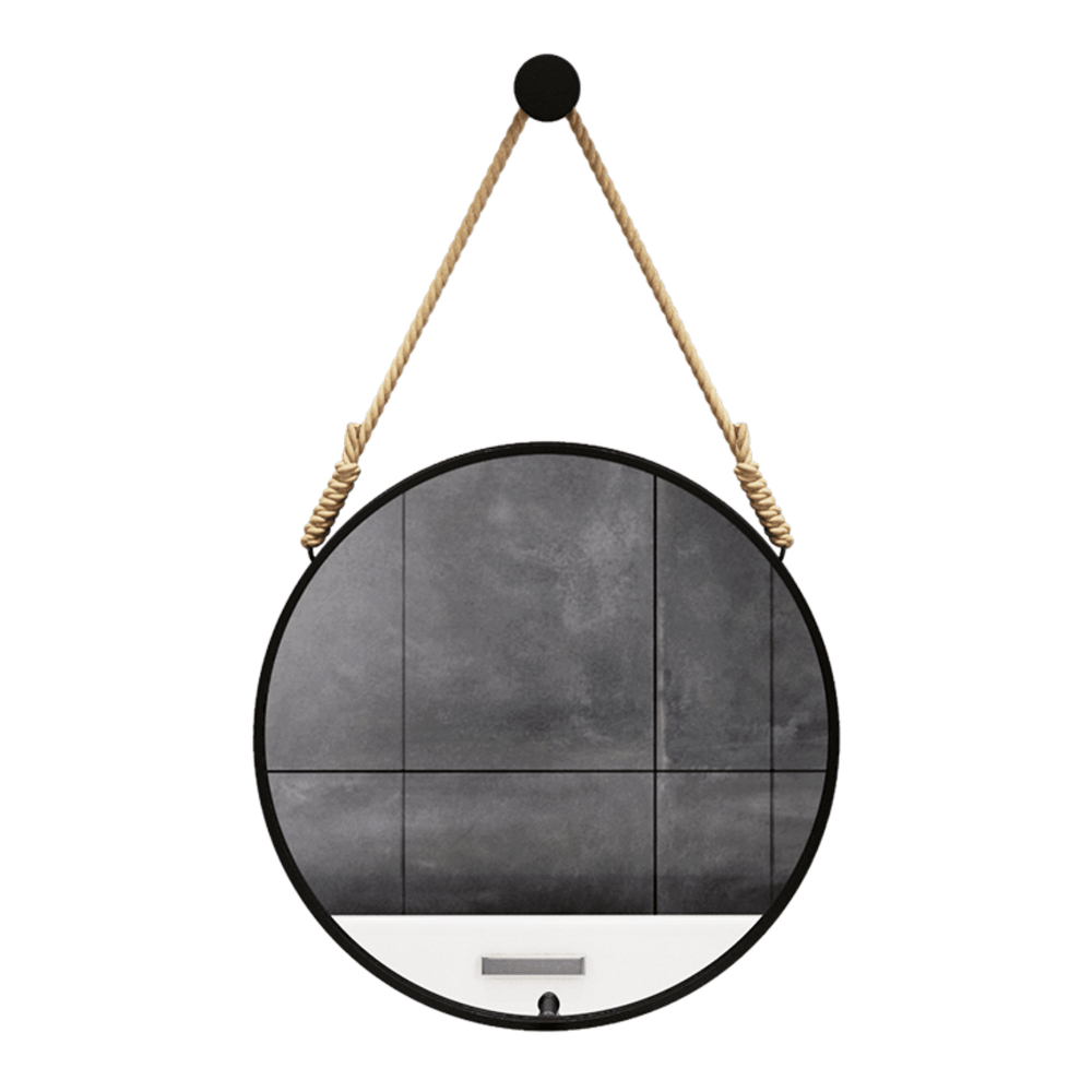 Beveled Distressed Accent Round Wall Mirror Black with Rope Hanger 60cm - Propstation