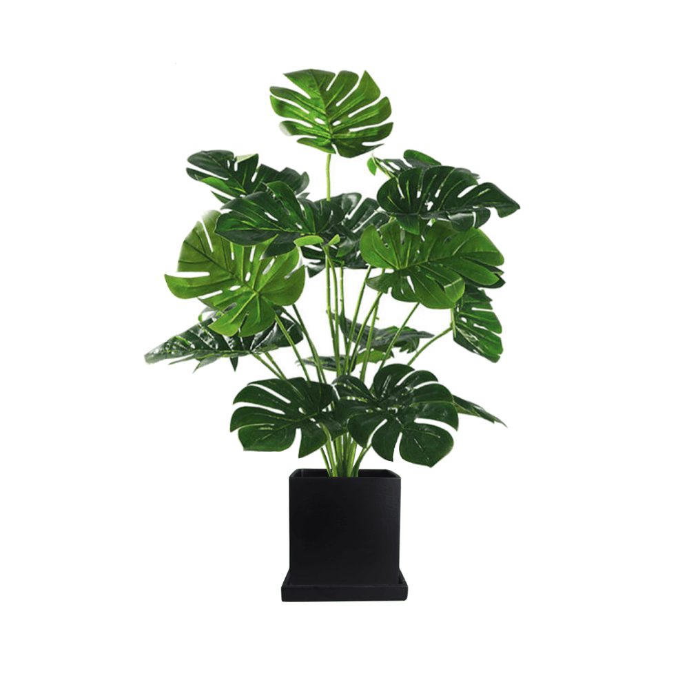 Potted Faux Turtle Monstera Simulation Plant 80cm in Black Ceramic Box Planter