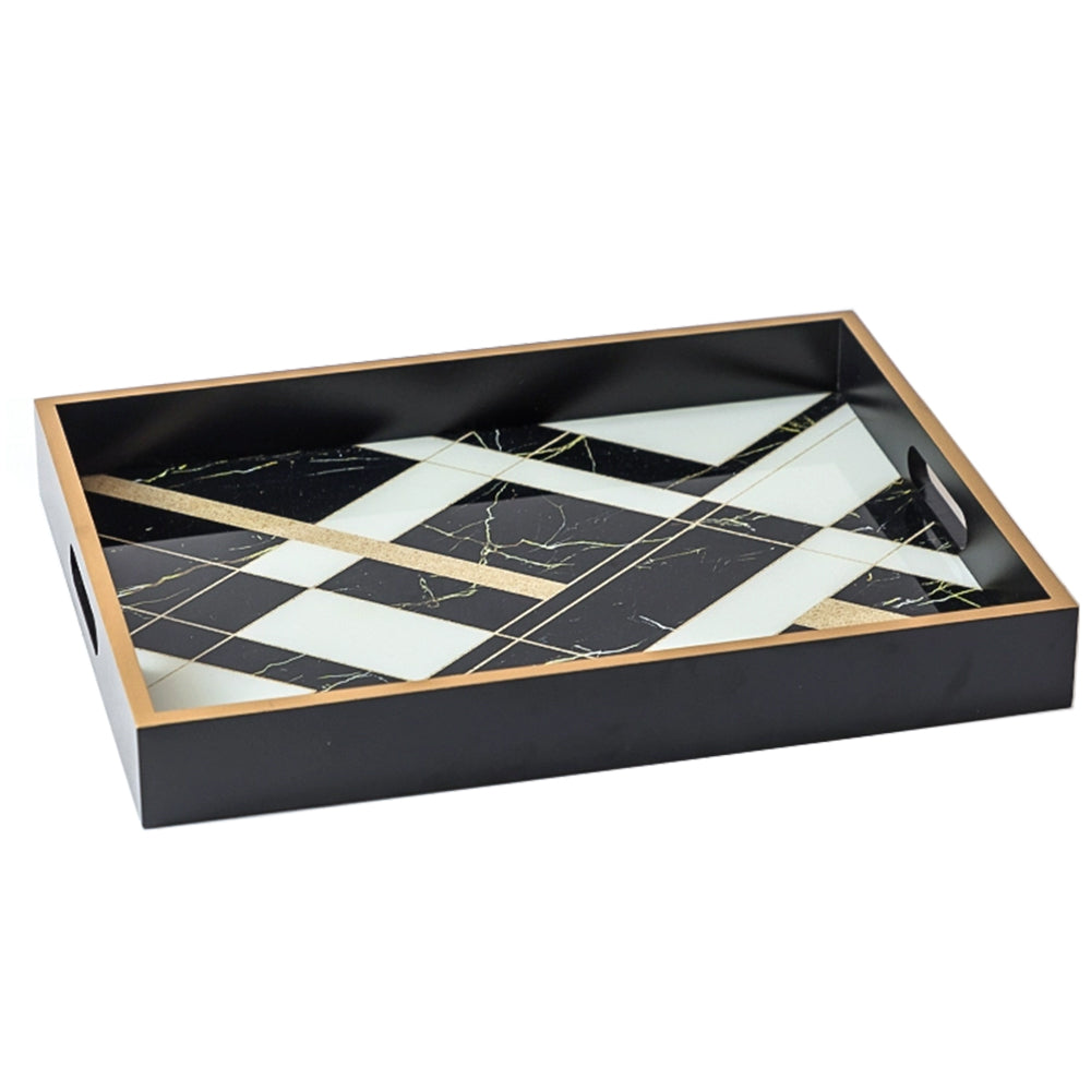 Rectangular Artful Marble Wooden Accent Tray 40cm - Black - Propstation