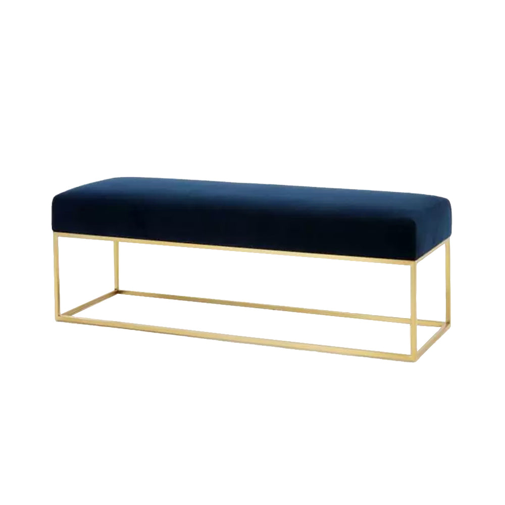 Opal Upholstered Velvet Blue In Gold Box Frame Bench - Propstation
