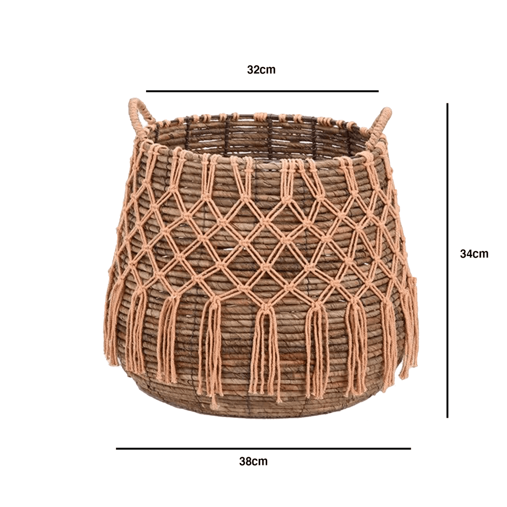 Oversized Wicker Cotton Rope Decorative Storage Basket with Handle