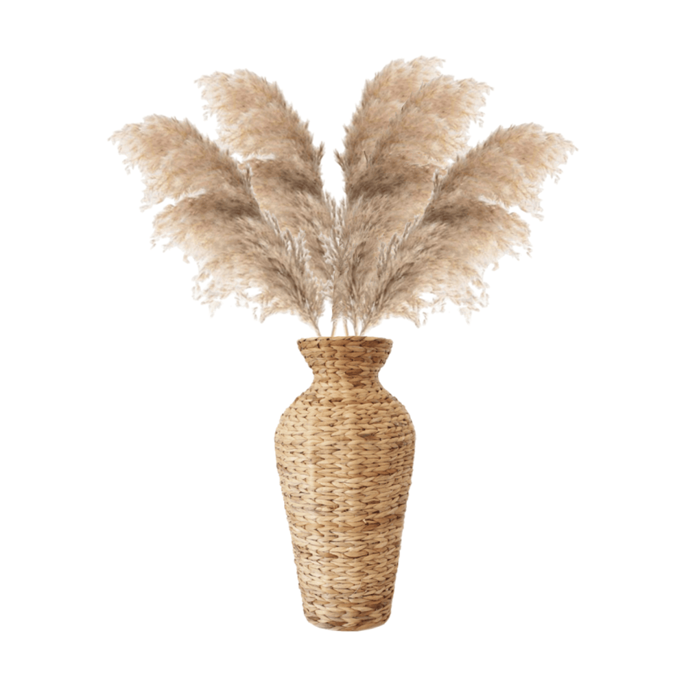 Dried Preserved Pampas Grass Natural in Wicker Floor Vase