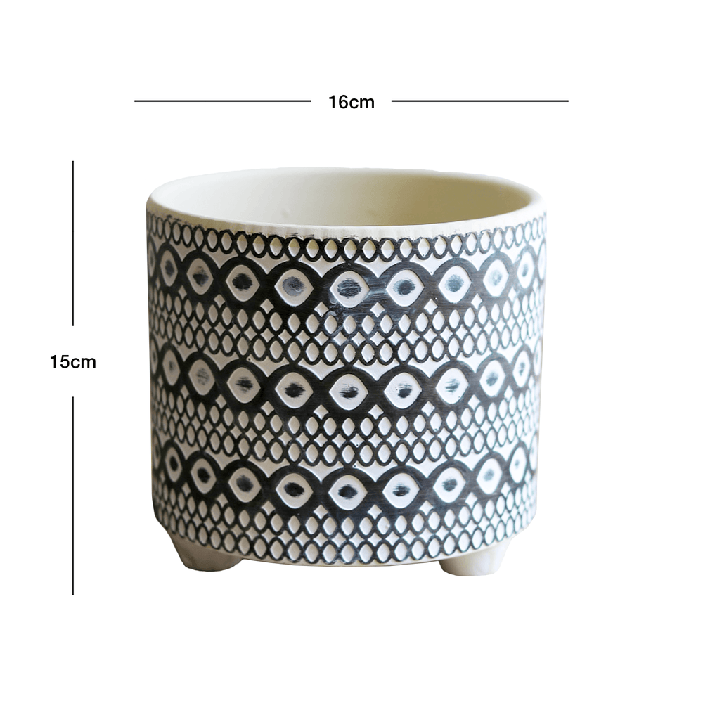 Circle Patterns Ceramic Round Pot Planter with Legs