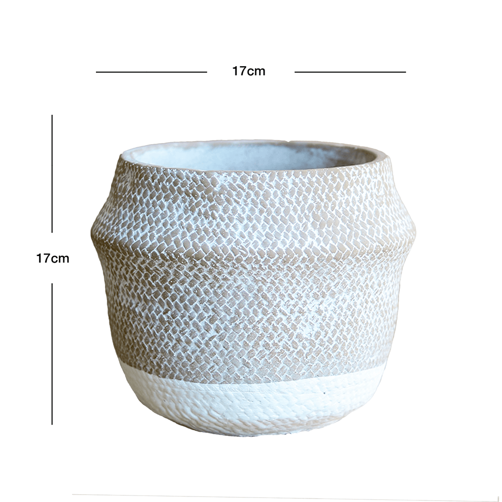 Woven Basket Pattern Ceramic Round Pot Planter Grey 17cm