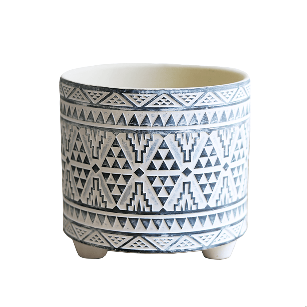 Geometrical Patterns Ceramic Round Pot Planter with Legs