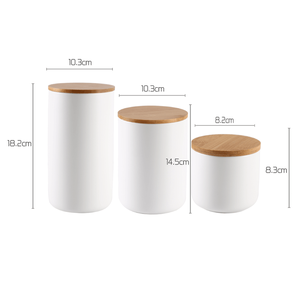 Nordic Ins Ceramic Sealed Airtight Jar White Set of 3 - Propstation