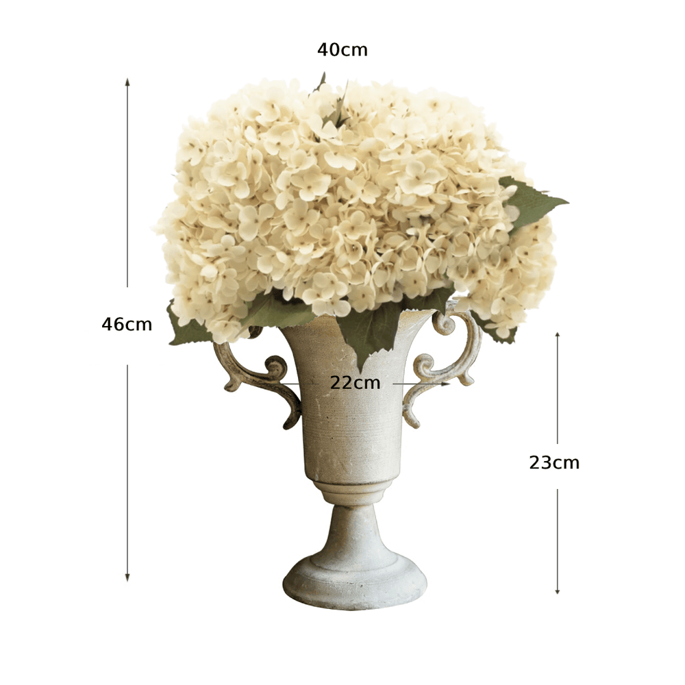 Rustic Preserved White Hydrangeas Floral Arrangement in Nostalgic Goblet - Propstation