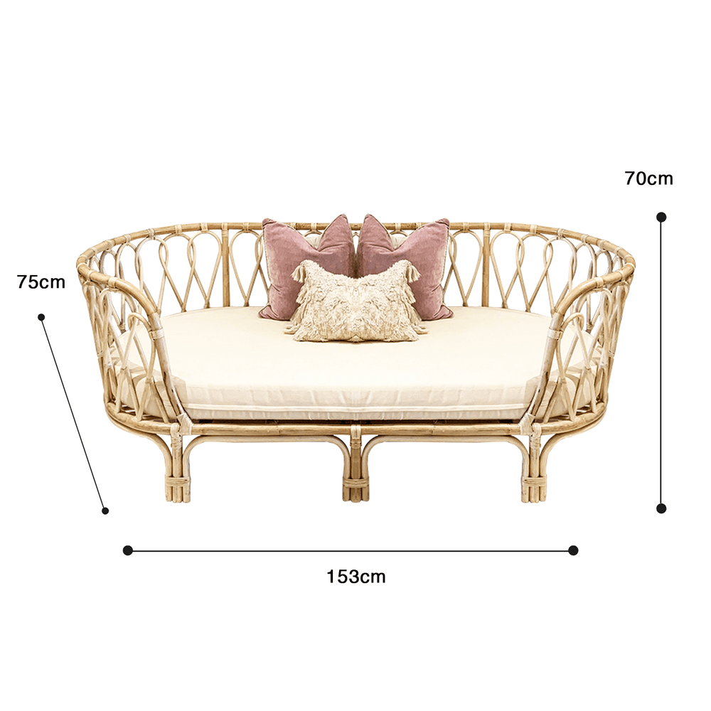 Curved Natural Rattan Frame Sofa - 3 Seater