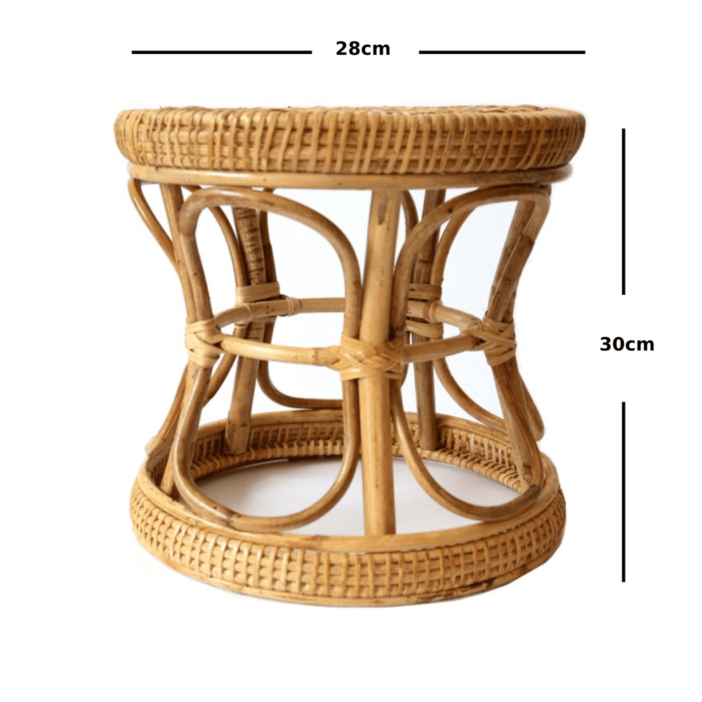 Rustic Boho Braided Curved Woven Rattan Stool and Pot Planter