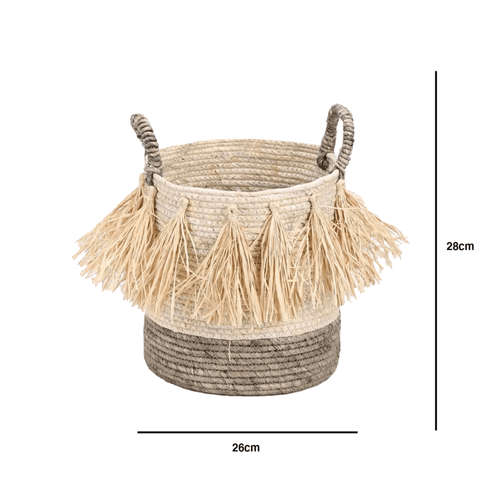 Maize Rope Storage Decorative Basket with Raffia Tassels Small