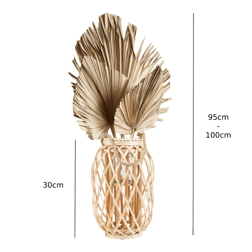 Dried Natural Spear Decorative Bunch in Bamboo Lantern 95cm - Propstation