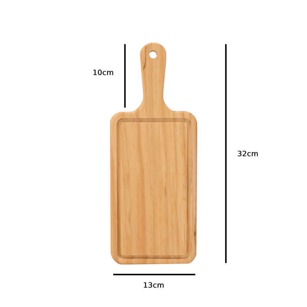 Curved Wood Rectangular Cutting and Serving Board with Handle 32cm