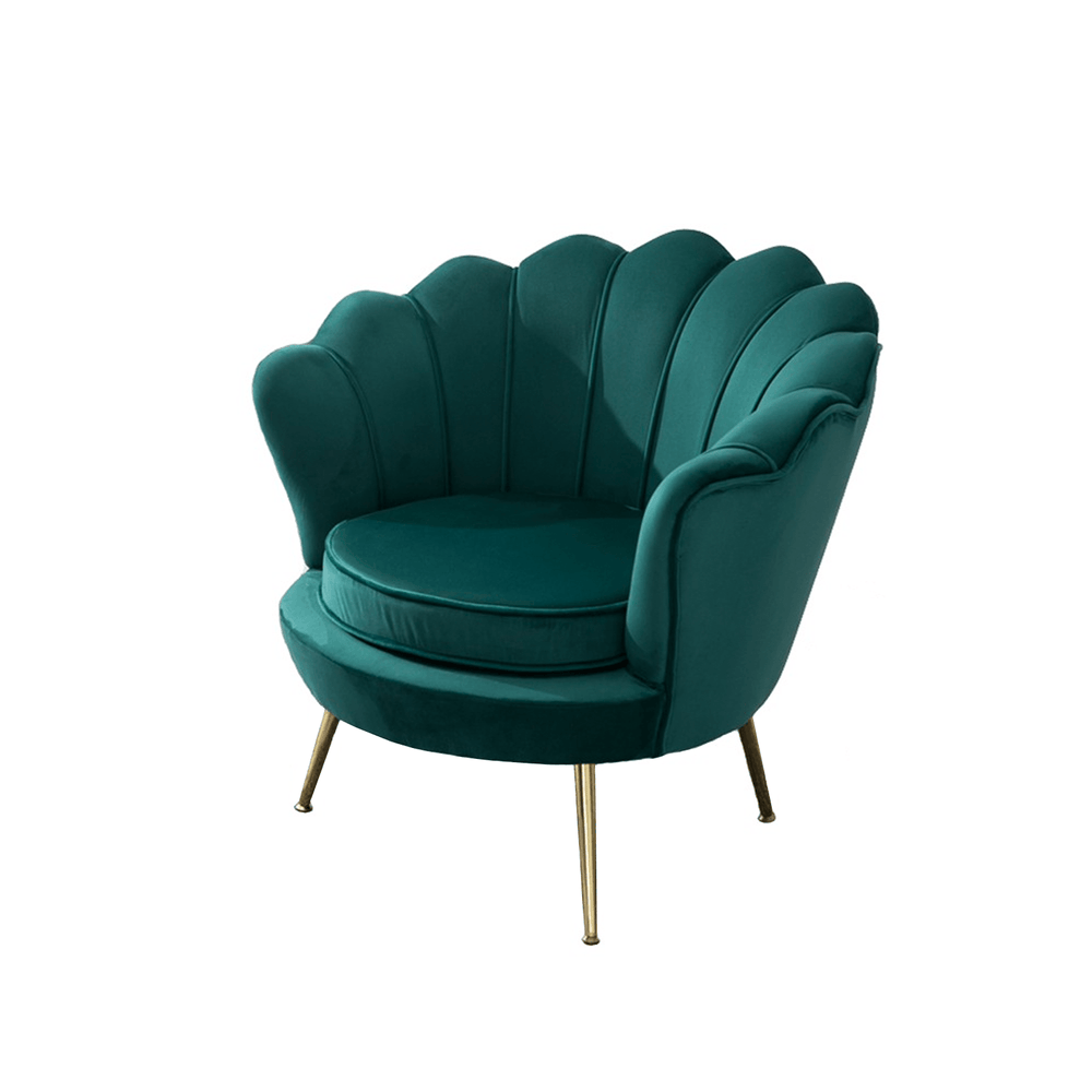 Upholstery Velvet Barrel Scalloped Edge Accent Chair Emerald Green