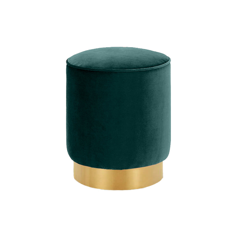 Velvet Ottoman Round Stool Emerald Green with Stainless Steel Base 40cm - Propstation