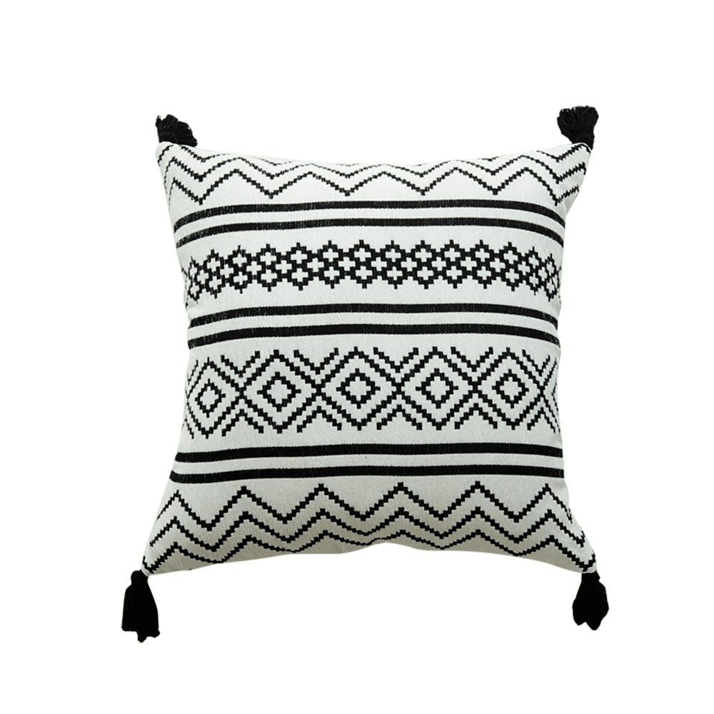 Chenille Woven Hand Tufted Geometric Throw Pillow Cushion Cover with Tassels - Propstation