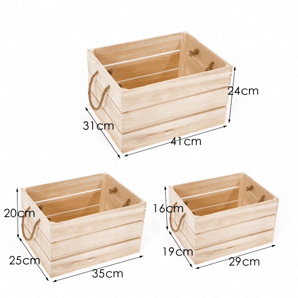 Slatted 3 Pieces Wood Crate Set Charcoal with Rope Handles - Propstation