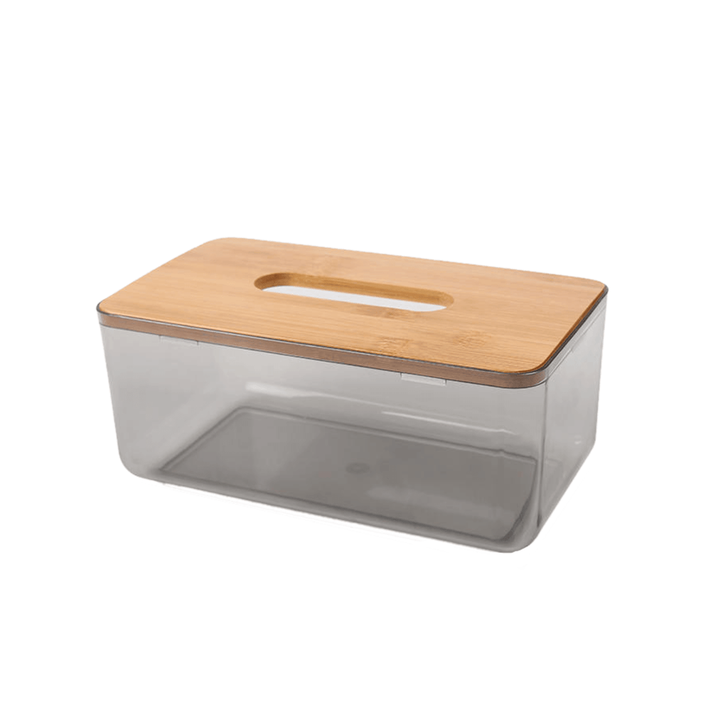 Bamboo Cover Lid Tissue Storage Box - Black