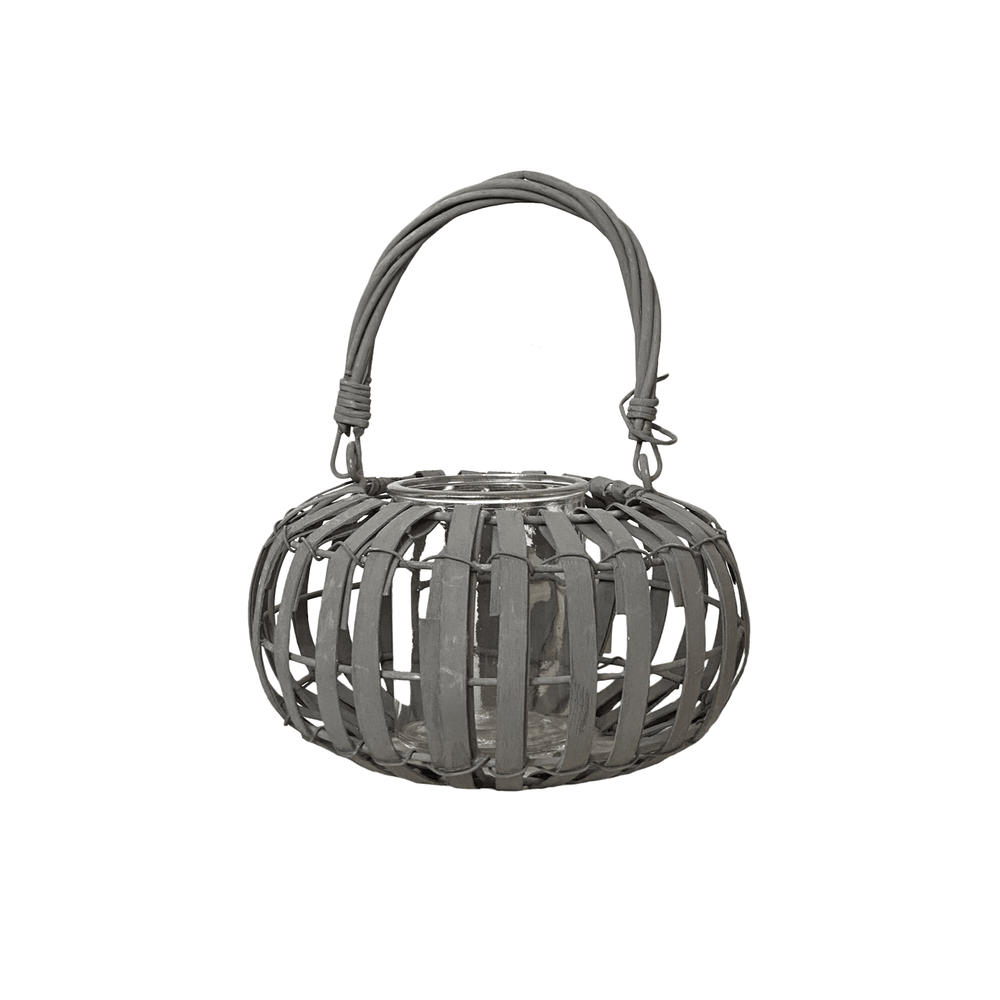 Willow Wood Shallow Drum Lantern Greywash - 20cm
