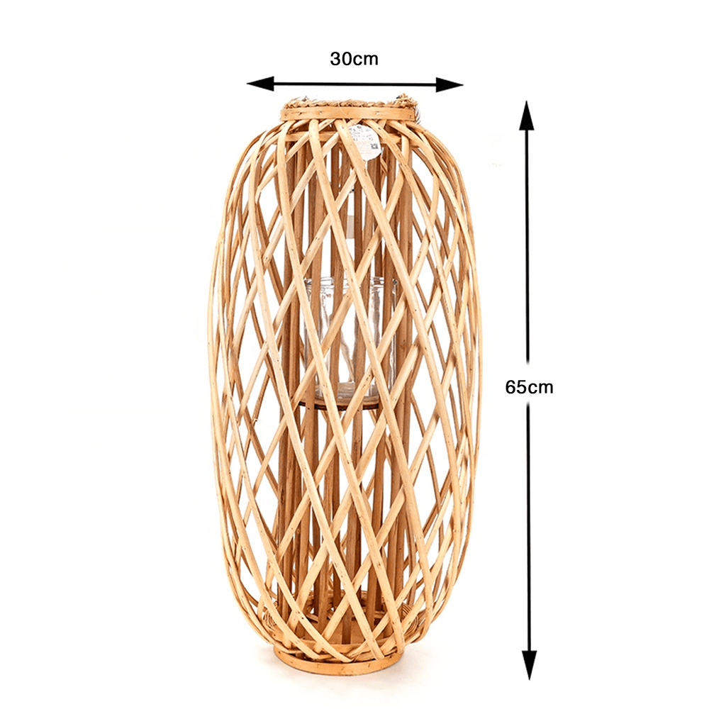 Willow Wood Lantern with Braided Rope Lip Handle Light Wood - 65cm