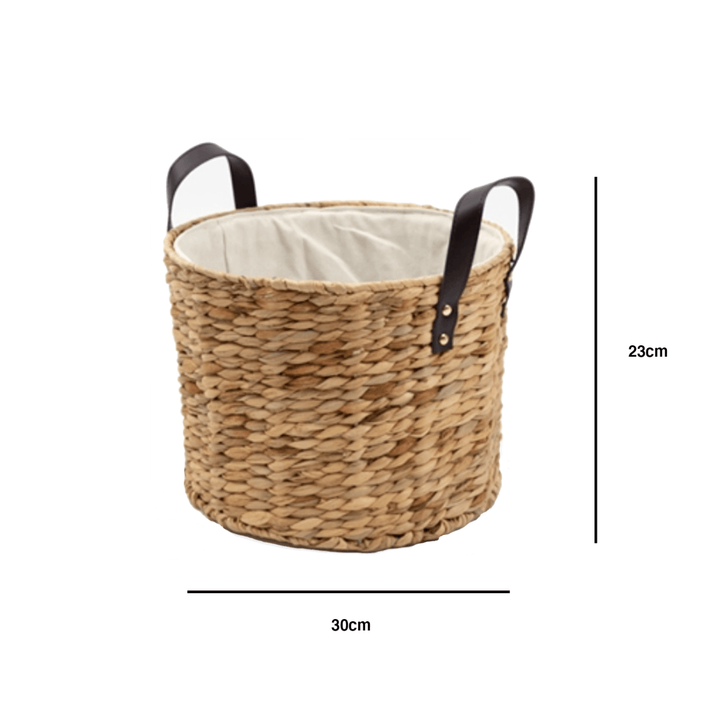 Oversized Braided Seagrass Basket with Leather Handles