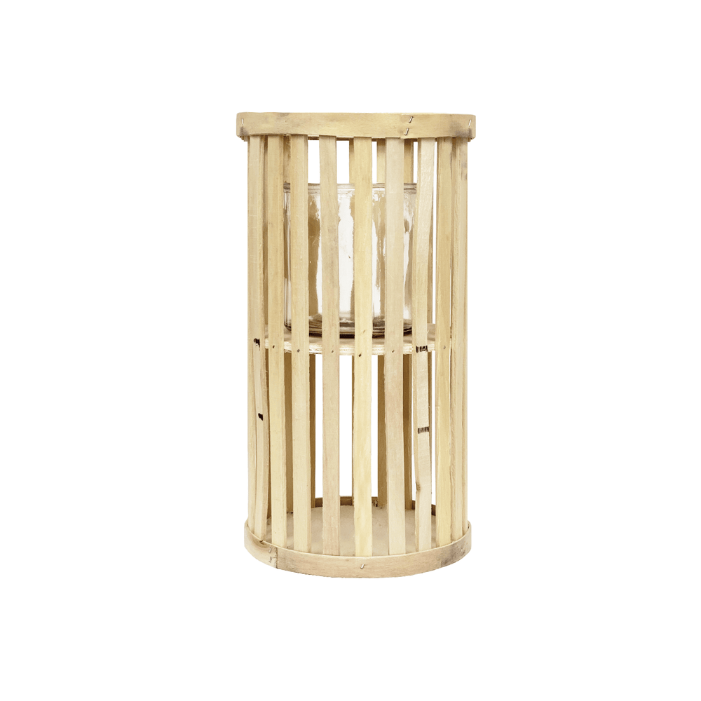 Willow Wood Cylinder Lantern Light Wood - 30cm - Propstation