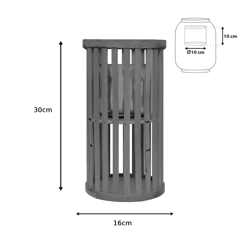 Willow Wood Cylinder Lantern Greywash - 30cm - Propstation