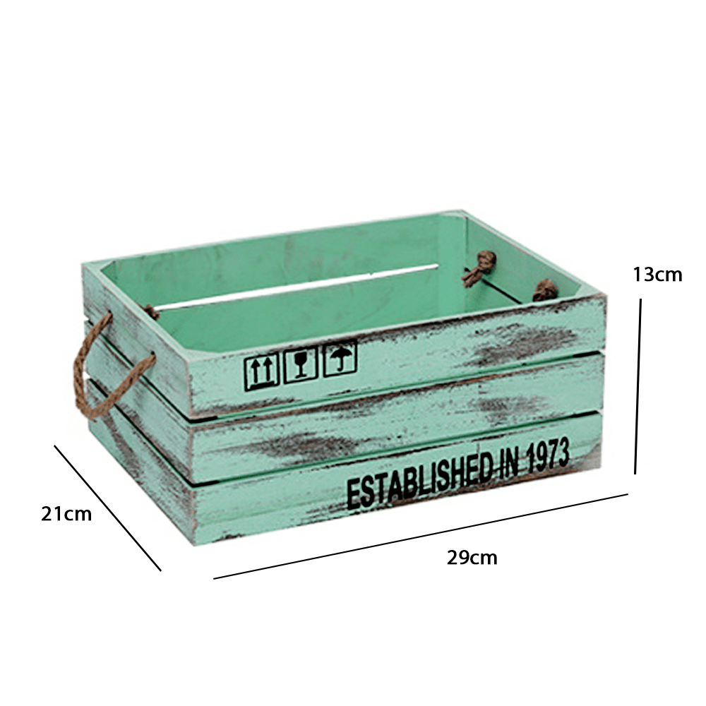 Rustic Wooden Crate with Jute Rope Handle 29cm - Propstation