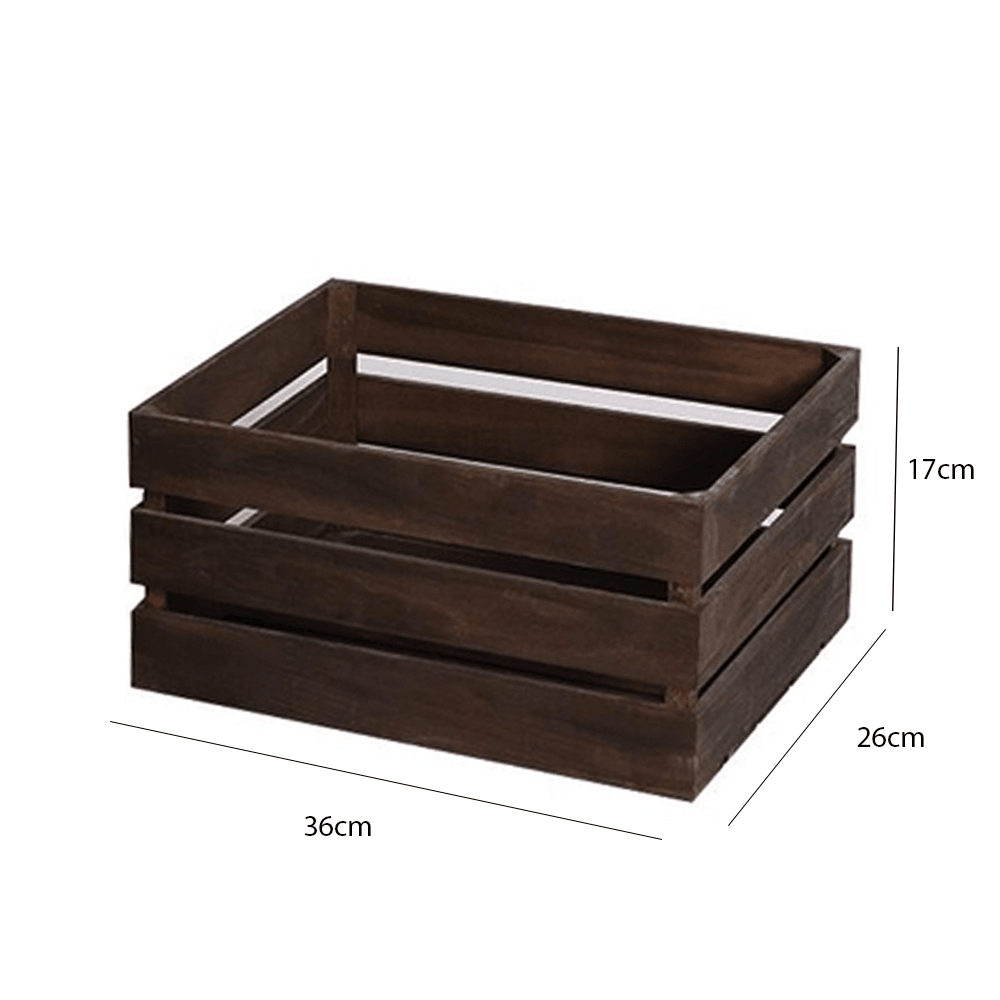 Rustic Solid Wooden Crate Dark Brown 36cm - Propstation