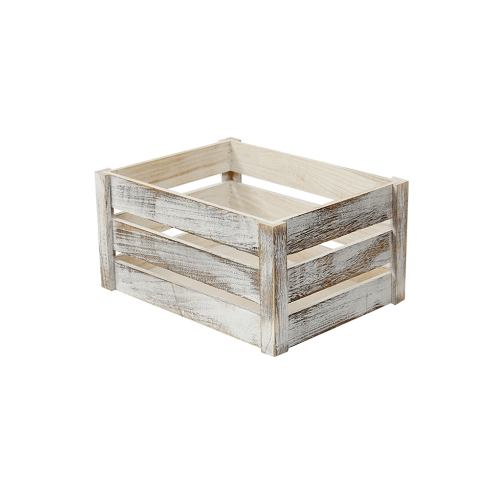 Rustic Solid Wooden Crate Old White 31cm - Propstation