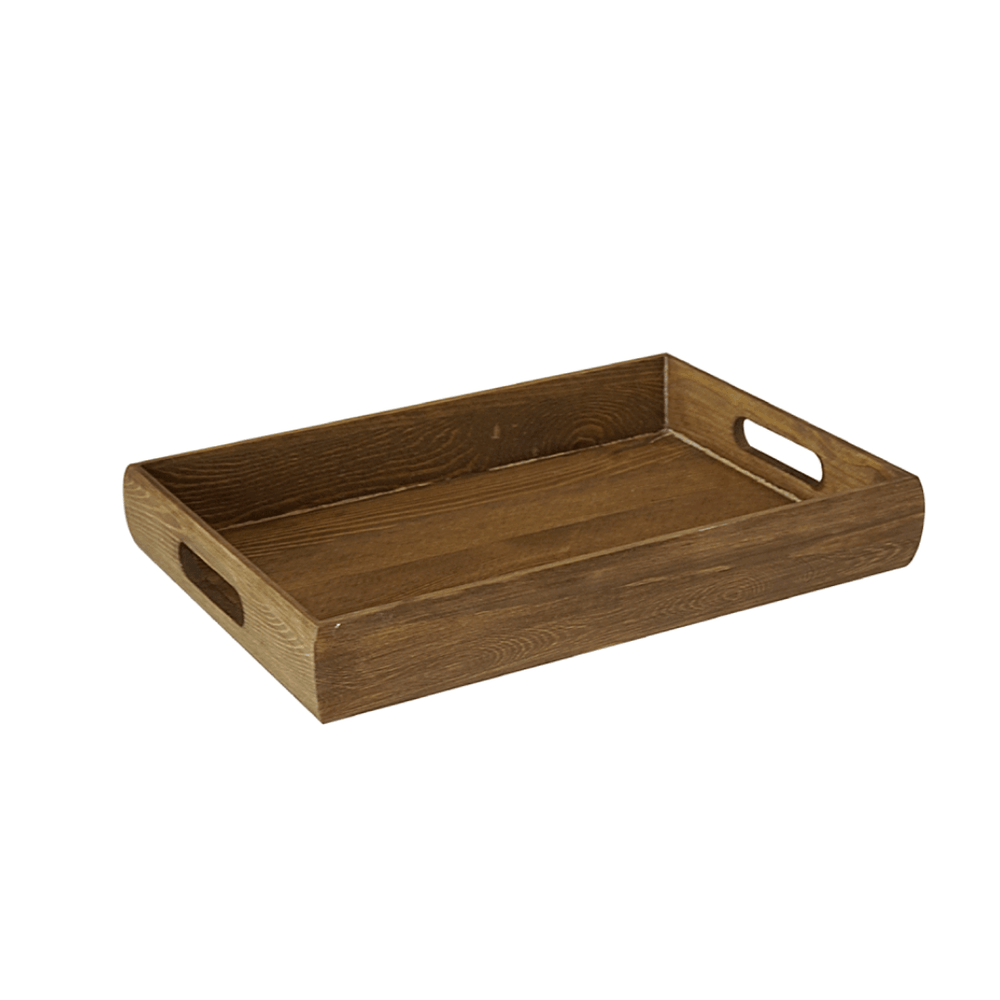 Rustic Acacia Rectangular Wooden Accent Serving Tray Brown - 34cm - Propstation