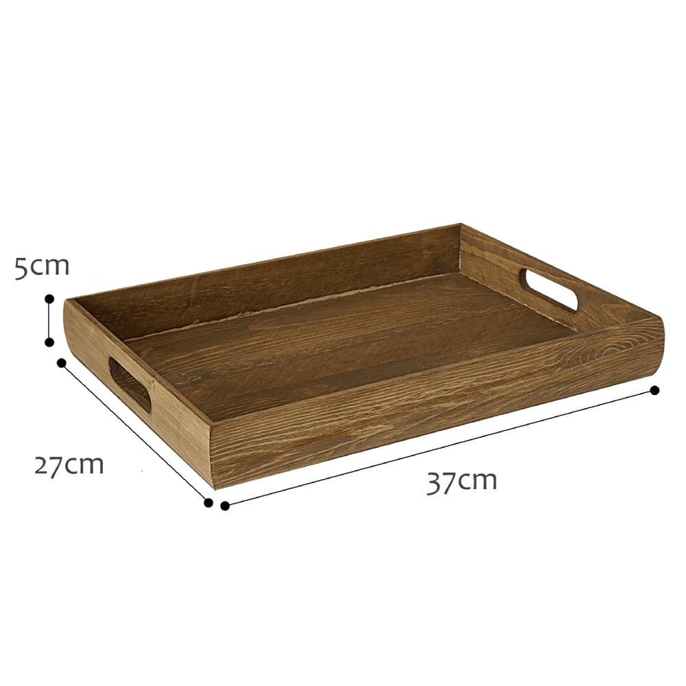 Basics Accent Rectangular Light Brown Wooden Serving Tray 37cm - Propstation