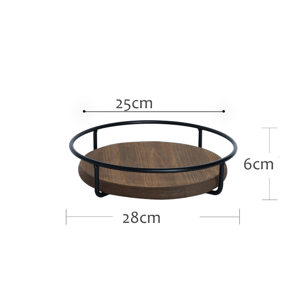 Rustic Industrial Metal and Brown Wood Decorative Tray 28cm - Propstation
