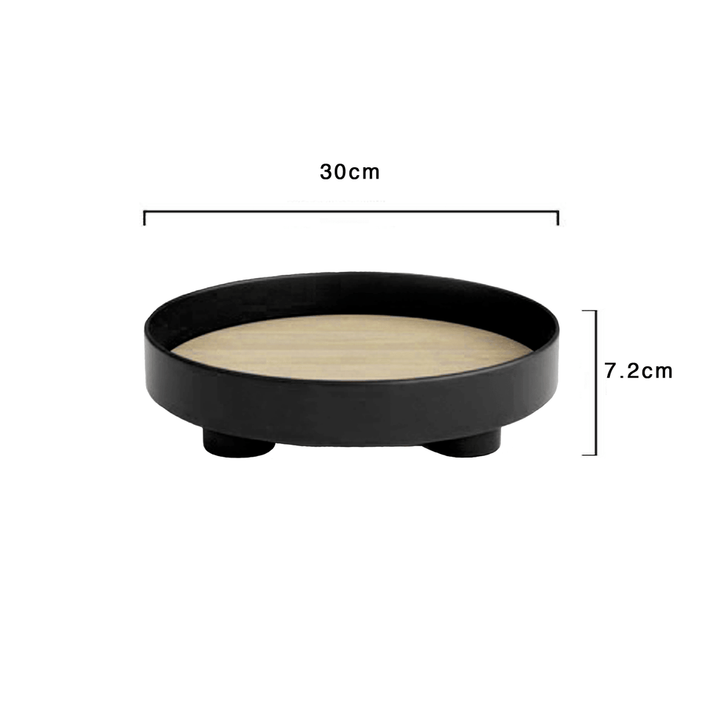 Basics Accent Round Wooden Decorative Tray Black 30cm