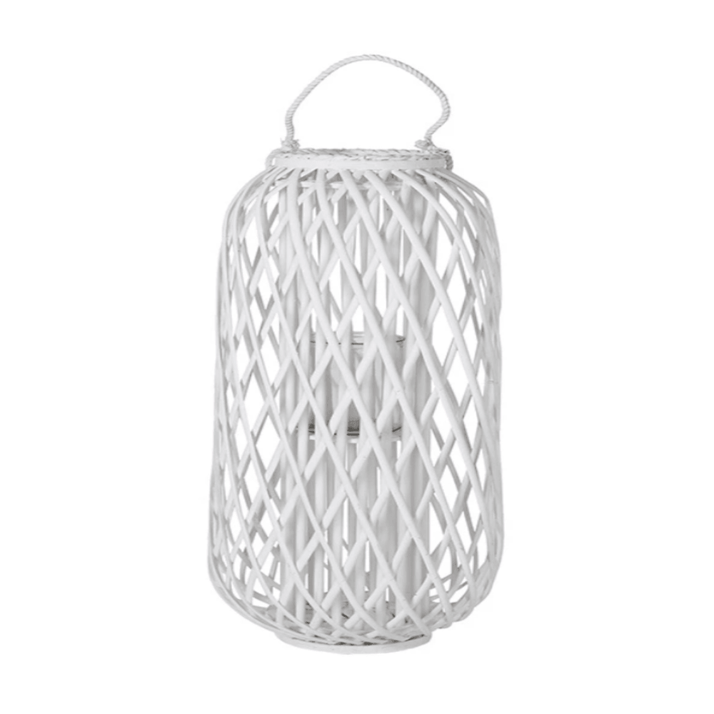 Willow Wood Lantern with Braided Rope Lip Handle White - 40cm - Propstation