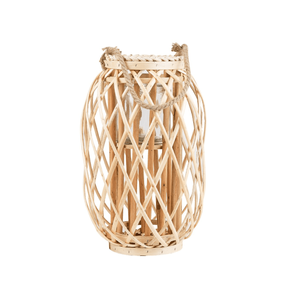 Willow Wood Lantern with Braided Rope Lip Handle Light Wood - 30cm