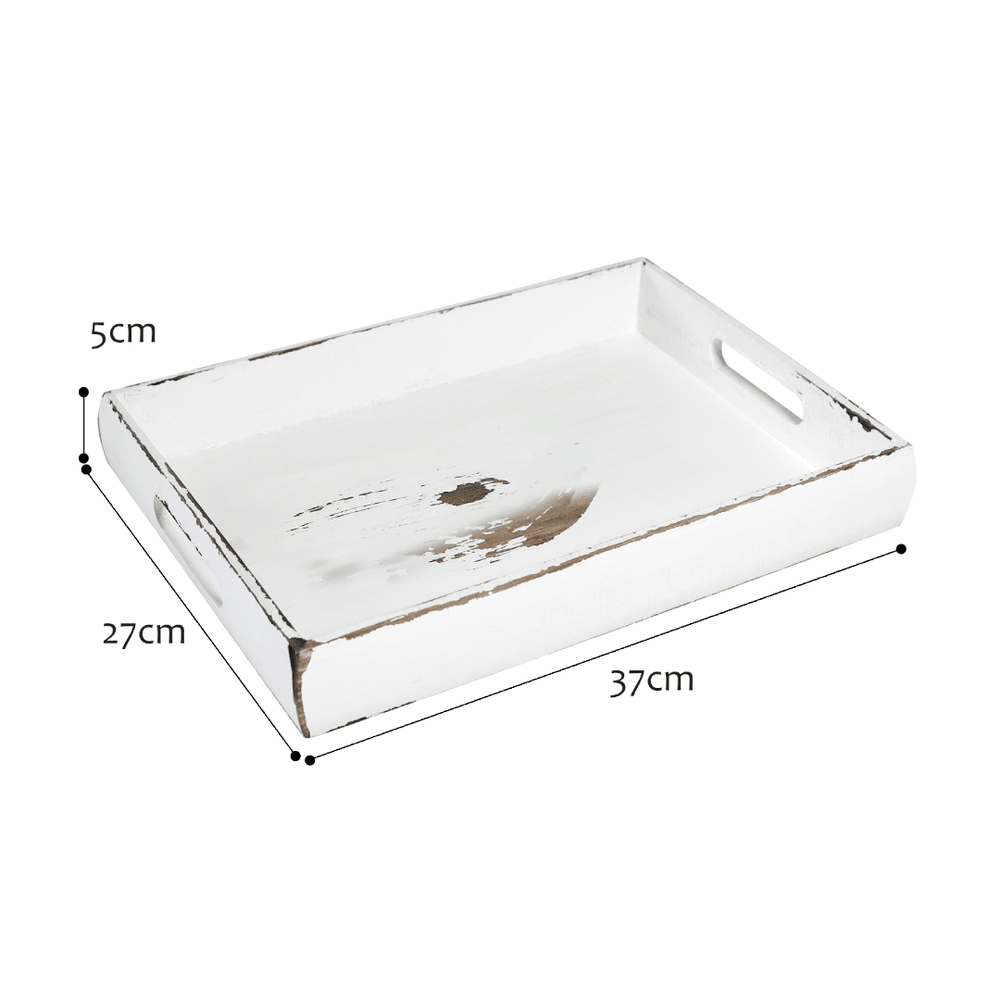 Rustic Acacia Rectangular Wooden Accent Serving Tray White - 34cm - Propstation